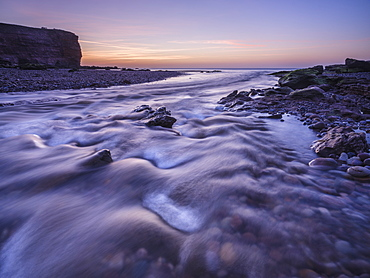 Twilight at mouth of River Otter at Budleigh Salterton, Devon, England, United Kingdom, Europe
