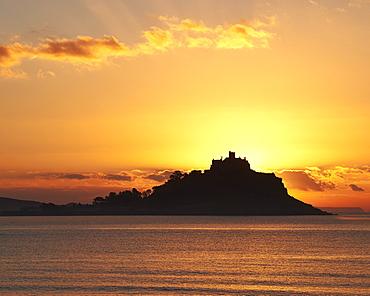 Colourful winter sunrise at St. Michael's Mount in Marazion, Cornwall, England, United Kingdom, Europe