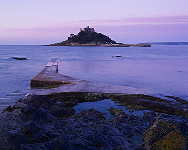 Spring dawn looking at St. Michael's Mount in Marazion, Cornwall, England, United Kingdom, Europe