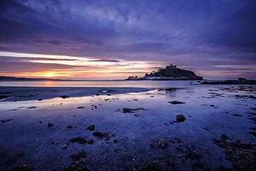 Winter sunrise at St. Michael's Mount in Marazion, Cornwall, England, United Kingdom, Europe