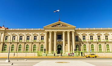 A front view of the Palacio National building in San Salvador, El Salvador, Central America