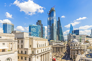 Elevated view of the City of London skyline, London, England, United Kingdom, Europe