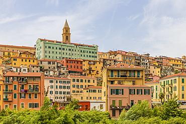 The colourful buildings in Ventimiglia, Liguria, Italy, Europe