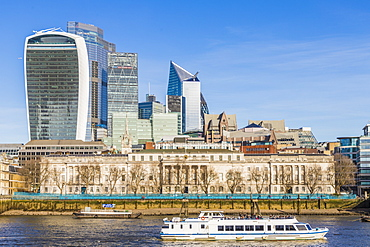 City of London skyline including 20 Fenchurch Street (The Walkie Talkie) and River Thames, London, England, United Kingdom, Europe