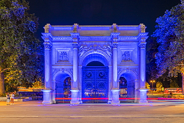 Marble Arch at night, London, England, United Kingdom, Europe