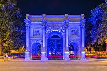 Marble Arch at night, London, England, United Kingdom, Europe