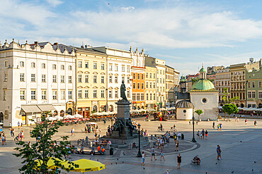 Elevated view of The Old Town Square and Adam Mickiewicz Monument, UNESCO World Heritage Site, Krakow, Poland, Europe