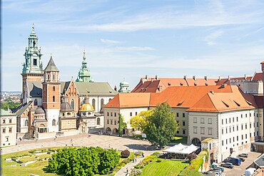 Elevated view of Wawel Castle, UNESCO World Heritage Site, Krakow, Poland, Europe