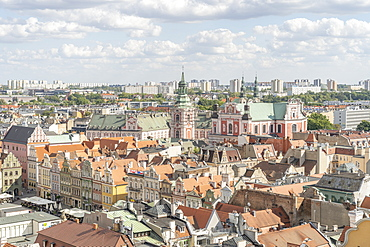 Elevated view over the Old Town, Poznan, Poland, Europe