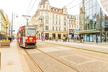 A tram in Katowice, Silesian, Poland, Europe