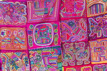 Traditional hand made colourful Molas made by Kuna Indians and sold in Panama City, Panama, Central America