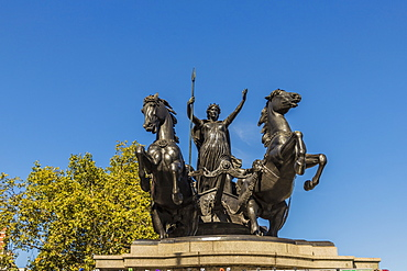 The Boadicea and Her Daughters statue on Westminster Bridge, London, England, United Kingdom, Europe