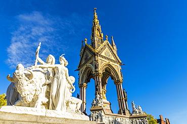 The America sculpture and the Albert Memorial in Kensington Gardens, London, England, United Kingdom, Europe