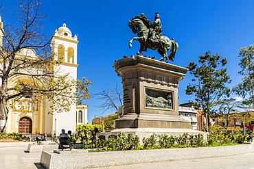 A view of the statue of Barrios, in San Salvador, El Salvador, Central America