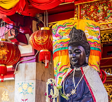 A wooden figure in Jui Tui shrine in Phuket Old Town, Phuket, Thailand, Southeast Asia, Asia
