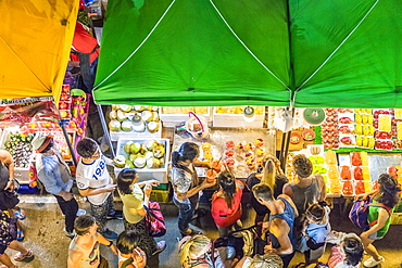 An aerial view of a fruit stall at the Banzaan night market in Patong, Phuket, Thailand, Southeast Asia, Asia