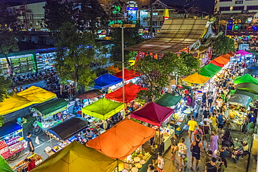 An aerial view of the Banzaan night market in Patong, Phuket, Thailand, Southeast Asia, Asia