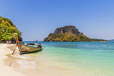 A long tail boat on Tup Island in Ao Nang, Krabi, Thailand, Southeast Asia, Asia