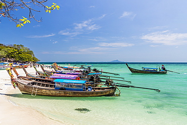 Long tail boats on Tup Island in Ao Nang, Krabi, Thailand, Southeast Asia, Asia