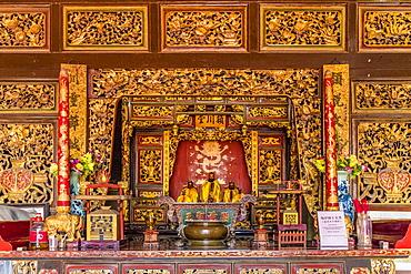 The interior of Eng Chuan Tong Tan Kongsi clan house in George Town, Penang Island, Malaysia, Southeast Asia, Asia