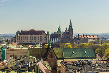 Aerial view of Wawel Castle and Cathedral and the medieval old town, UNESCO World Heritage Site, Krakow, Poland, Europe
