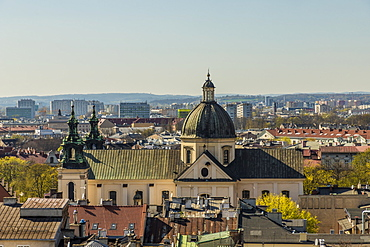 Aerial view of the Church of St. Peter and St. Paul and the medieval old town, UNESCO World Heritage Site, Krakow, Poland, Europe