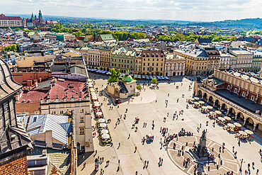 An elevated view over the Main Square in the medieval old town, a UNESCO World Heritage site, in Krakow, Poland, Europe.