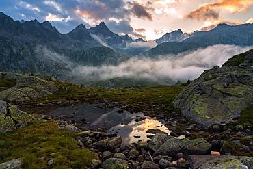 Adamello Brenta Natural Park at sunset in Trentino-Alto Adige, Italy, Europe