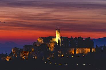 Castle Cidneo in Brescia at sunset, Brescia Province, Lombardy, Italy, Europe