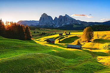 The Alpe di Siusi plateau in autumn, Gardena Valley, Bolzano Province, Trentino-Alto Adige, Italy, Europe