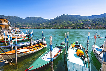 Boats moored at Monte Isola, the largest lake island in Europe, Province of Brescia, Lombardy, Italy, Europe