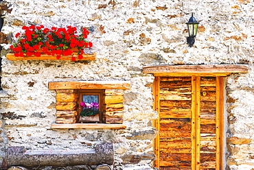 Facade of a mountain house in Alta Valtellina, Sondalo, Lombardy District, Italy, Europe