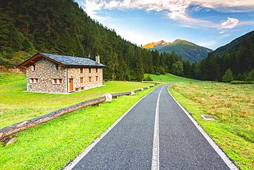 Cottage along the bike path to wooden bridge, Ponte di Legno, Vallecamonica (Val Camonica), Brescia province, Lombardy district, Italy, Europe