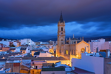 Parroquia San Pablo before sunrise in Malaga center, Malaga, Andalucia, Spain, Europe