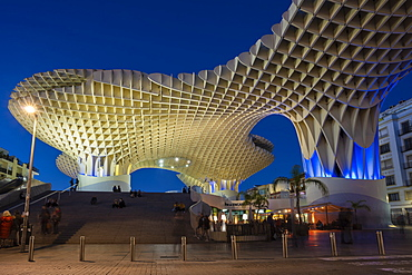 La Setas de Sevilla, Metropol Parasol is a wooden structure located at La Encarnacion square at sunset, Seville, Andalucia, Spain, Europe
