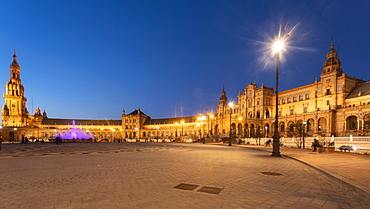 Long exposure of the Plaza de Espana in Parque de Maria Luisa at sunset, Seville, Andalucia, Spain, Europe