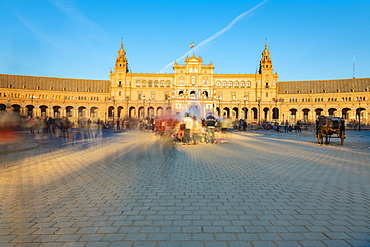 Plaza de Espana in Parque de Maria Luisa, an example of the Regionalism Architecture elements of Renaissance and Moorish styles, Seville, Andalucia, Spain, Europe