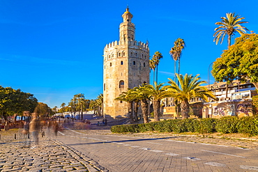 Torre del Oro (The Golden Tower), a dodecagonal military watchtower in Seville, Andalucia, Spain, Europe