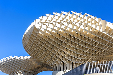 Setas de Sevilla, Metropol Parasol, a wooden modern architecture structure with an archaeological museum and viewpoint, Seville, Andalucia, Spain, Europe