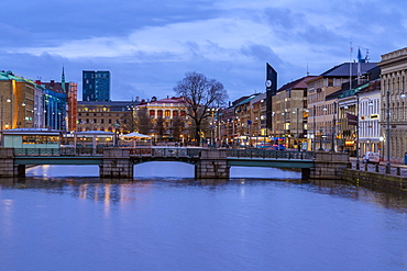 The historic city centre with Tyska Bronn and Brunnsparken in the background in spring at night, Goteborg (Gothenburg), Vastra-Gotaland County, Sweden, Scandinavia, Europe