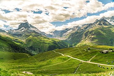 View from Gornegrat in the Alps towards the Matterhorn in summer, Swiss Alps, Switzerland, Europe
