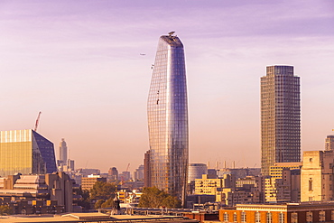 Skyline of London seen from One New Change, City of London with One Blackfriars at the Bank side, London, England, United Kingdom, Europe