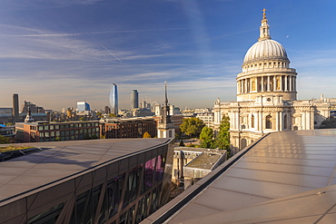 Skyline of London seen from One New Change, City of London with St. Paul's Cathedral seen from above, London, England, United Kingdom, Europe