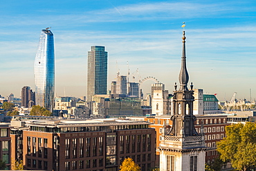 Skyline of London seen from One New Change, City of London with the London Eye and Oxo Tower and One Blackfriars at Bank side, London, England, United Kingdom, Europe