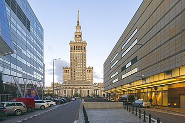 Palace of Culture and Science (Palac Kultury i Nauki), built in the 1950s at the downtown district, Warsaw, Poland, Europe