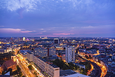 View of Berlin Mitte and Alexander Platz at night from the Park Inn Hotel, Berlin, Germany, Europe
