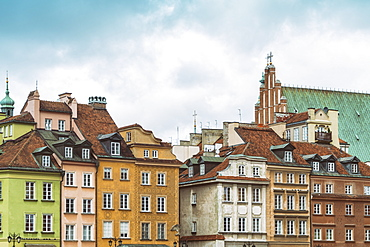 Historic buildings at the Castle Square (Plac Zamkowy), Old City, UNESCO World Heritage Site, Warsaw, Poland, Europe