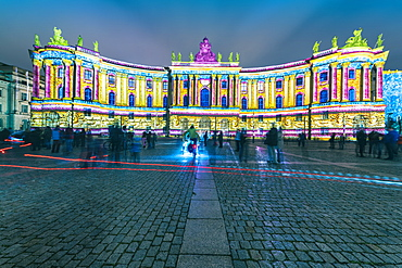The historic building of the Faculty of Law, Humboldt University illuminated at night in Mitte, Berlin, Germany, Europe