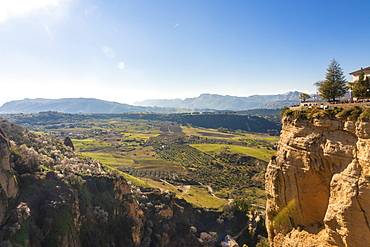 El Tajo Gorge with green landscape of the surroundings in the background, Ronda, Andalucia, Spain, Europe