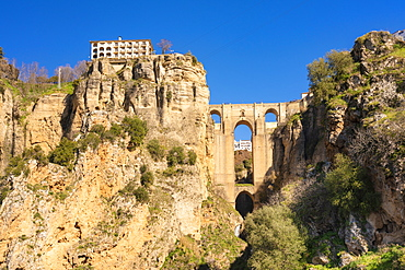 Puente Nuevo Ronda, El Tajo de Ronda in winter on a sunny day, Ronda, Andalucia, Spain, Europe